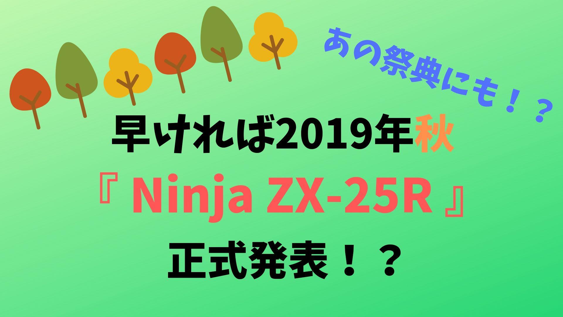 早ければ2019年秋!Ninja ZX-R25正式発表!?